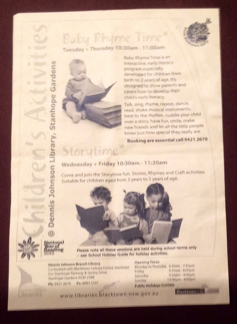 Poster, advertisement, pamphlet, library, children, babies, reading  - Baby Rhyme & Children's Storytimes @ Council Libraries