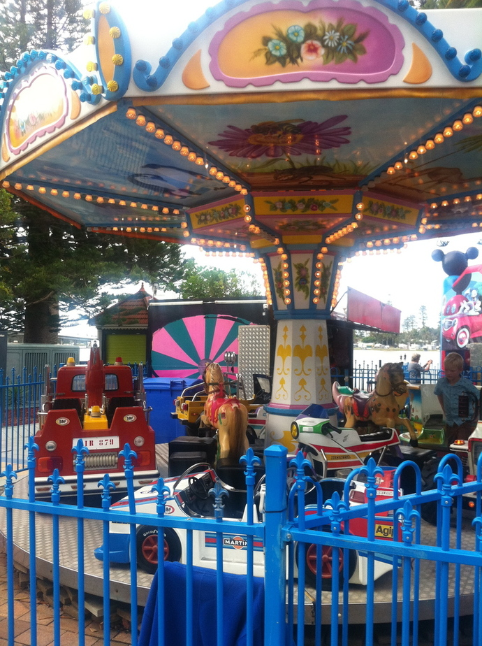 amusement rides at the entrance