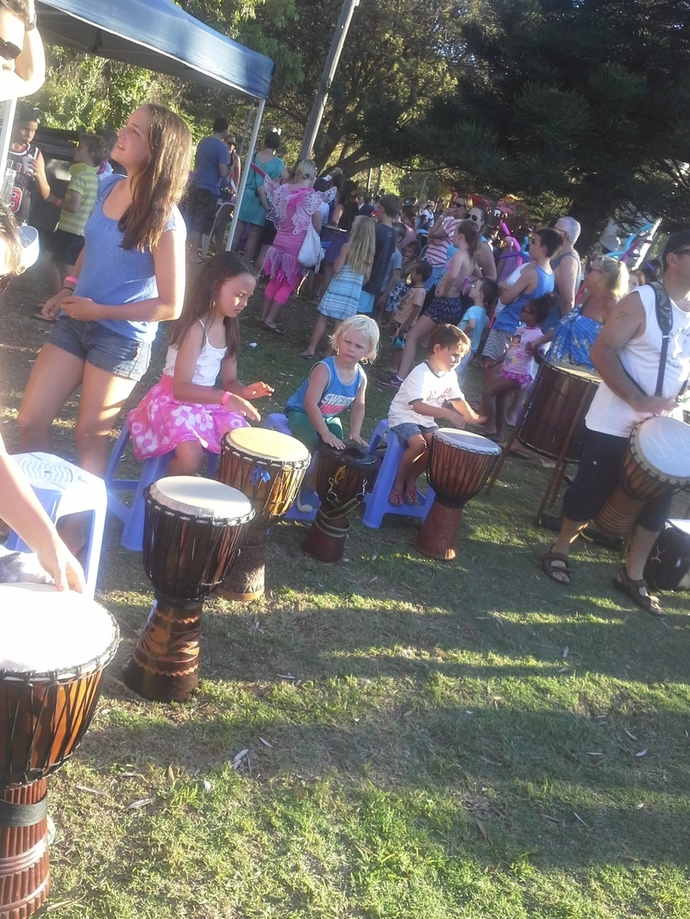 At the carnival with the bongo drums