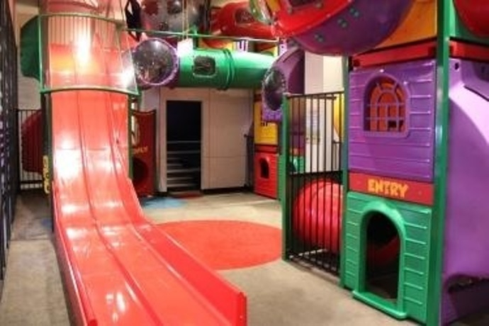 Indoor play area, kids area, fun, slides, cubby, tunnels