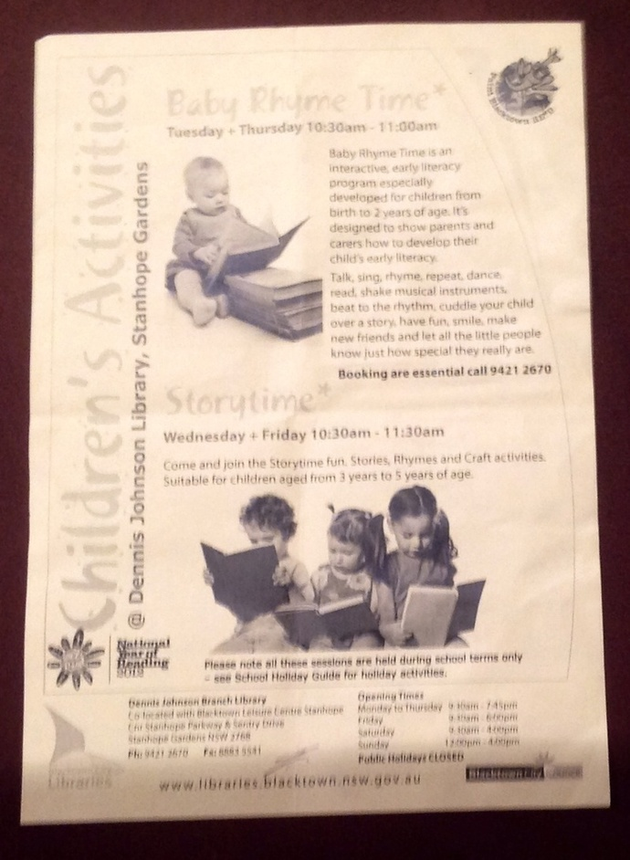 Poster, advertisement, pamphlet, library, children, babies, reading